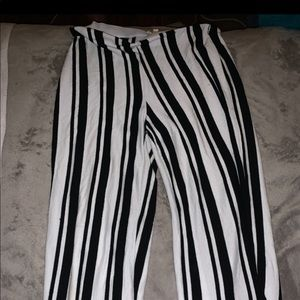 Black and white striped flowy pants